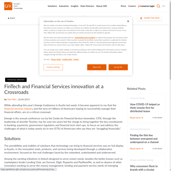 FinTech and Financial Services innovation at a Crossroads - GfK Insights Blog