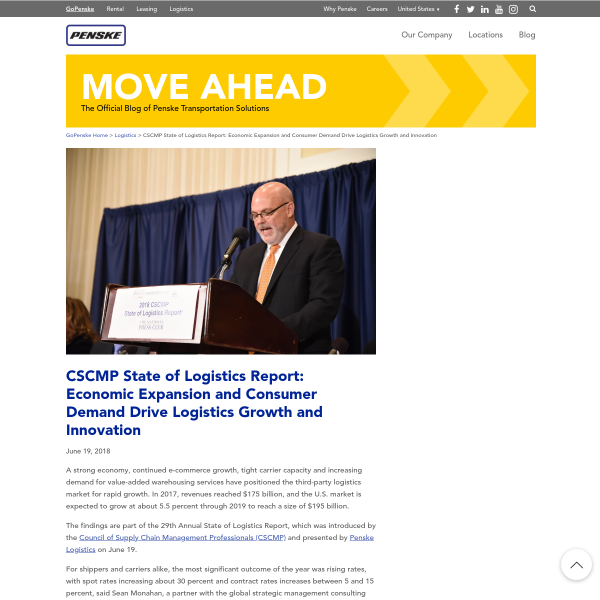 CSCMP State of Logistics Report: Economic Expansion and Consumer Demand Drive Logistics Growth and Innovation - blog.gopenske.com