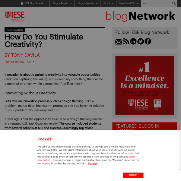 Innovation: How Do You Stimulate Creativity? - IESE Blog Network