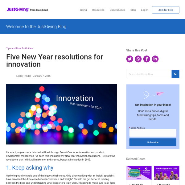 Five New Year resolutions for innovation