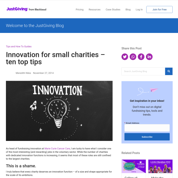 Innovation for small charities – ten top tips