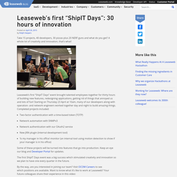"Leaseweb's first ""ShipIT Days"": 30 hours of innovation - Leaseweb Blog"