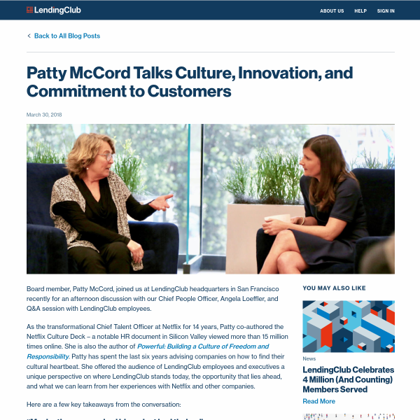 Patty McCord Talks Culture, Innovation, and Commitment to Customers - LendingClub Blog