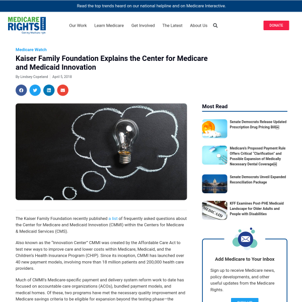 Kaiser Family Foundation Explains the Center for Medicare and Medicaid Innovation - Medicare Rights Blog