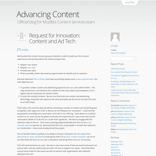 Request for Innovation: Content and Ad Tech