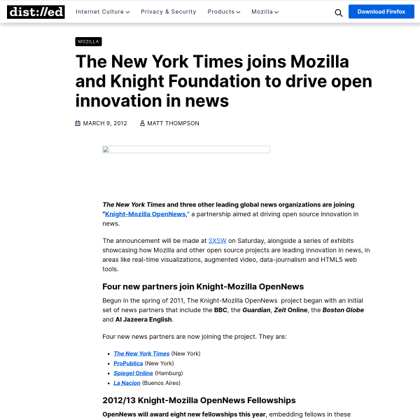 The New York Times joins Mozilla and Knight Foundation to drive open innovation in news – The Mozilla Blog