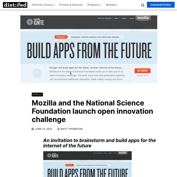 Mozilla and the National Science Foundation launch open innovation challenge – The Mozilla Blog