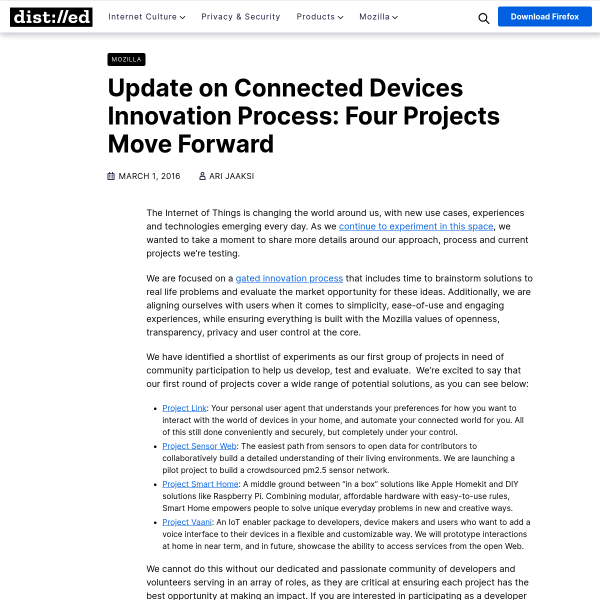 Update on Connected Devices Innovation Process: Four Projects Move Forward – The Mozilla Blog