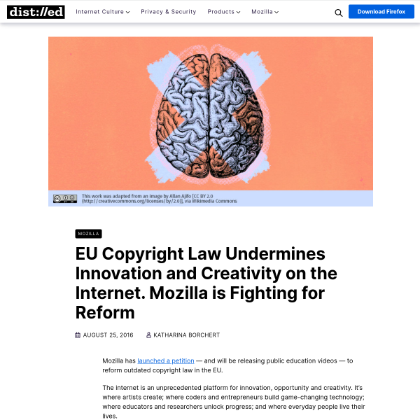 EU Copyright Law Undermines Innovation and Creativity on the Internet. Mozilla is Fighting for Reform – The Mozilla Blog