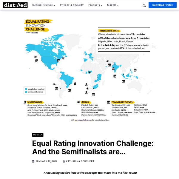 Equal Rating Innovation Challenge: And the Semifinalists are… – The Mozilla Blog