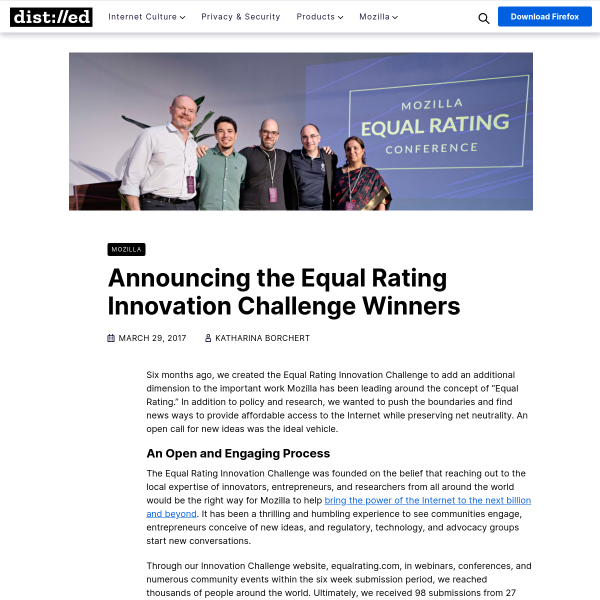 Announcing the Equal Rating Innovation Challenge Winners – The Mozilla Blog