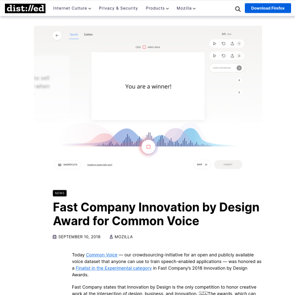 Fast Company Innovation by Design Award for Common Voice – The Mozilla Blog