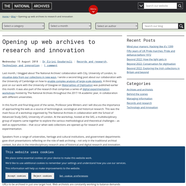 Opening up web archives to research and innovation