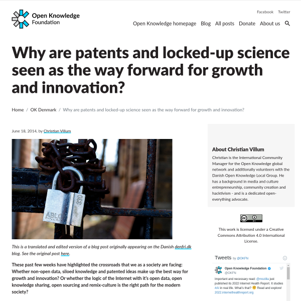 Why are patents and locked-up science seen as the way forward for growth and innovation?