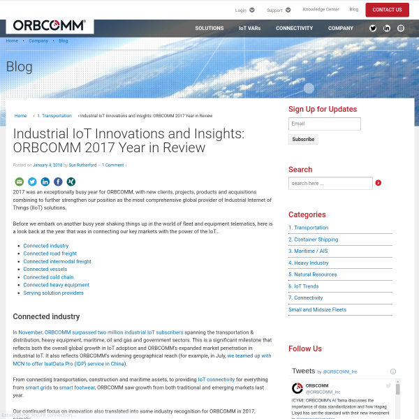 Industrial IoT Innovations and Insights: ORBCOMM 2017 Year in Review - ORBCOMM Blog