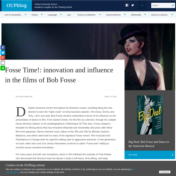 Fosse Time!: innovation and influence in the films of Bob Fosse - OUPblog