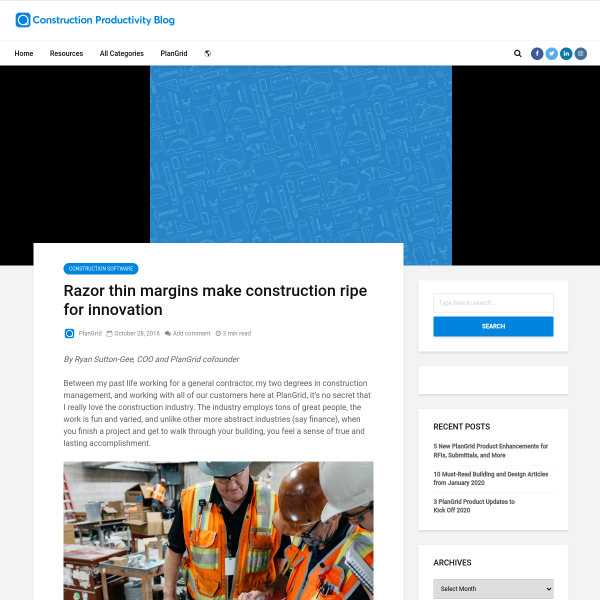 Razor thin margins make construction ripe for innovation - PlanGrid Construction Productivity Blog