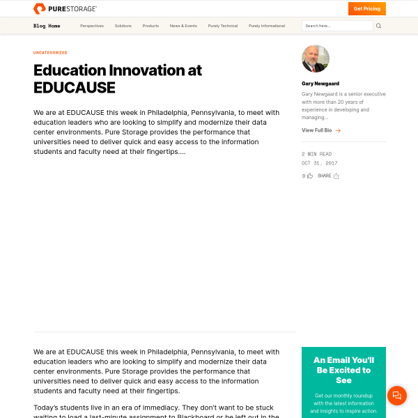 Education Innovation at EDUCAUSE - Pure Storage Blog