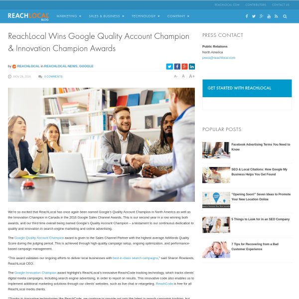 ReachLocal Named Google Award Winner for Quality Accounts & Innovation