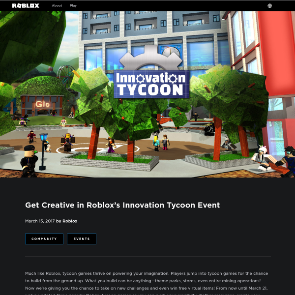 Get Creative in Roblox's Innovation Tycoon Event - Roblox Blog