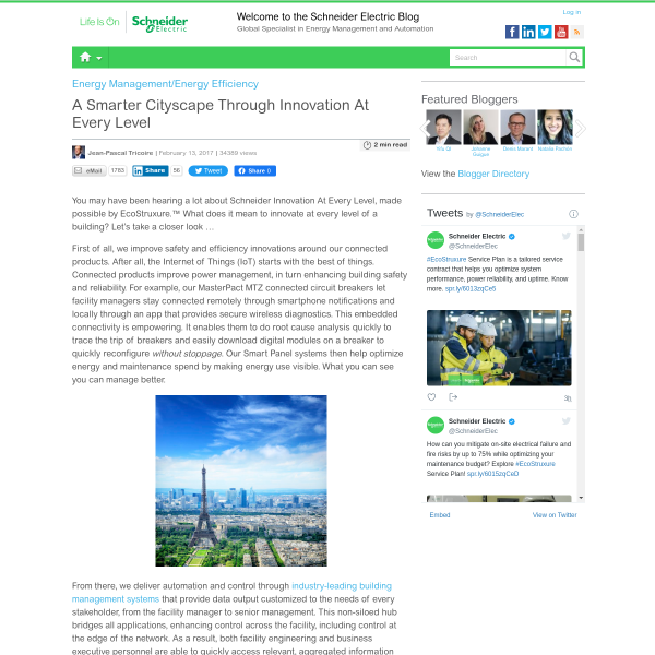 A Smarter Cityscape Through Innovation At Every Level - Schneider Electric Blog