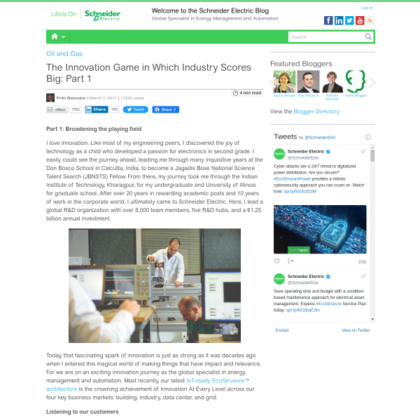 The Innovation Game in Which Industry Scores Big: Part 1 - Schneider Electric Blog