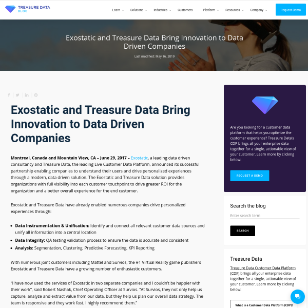 Exostatic and Treasure Data Bring Innovation to Data Driven Companies - Treasure Data Blog