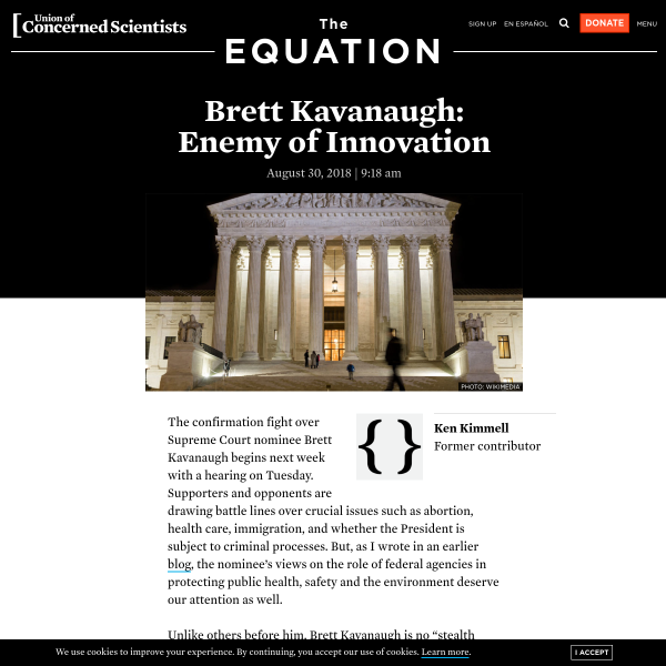 Brett Kavanaugh: Enemy of Innovation