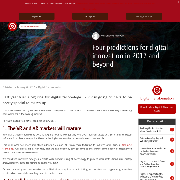 Four predictions for digital innovation in 2017 and beyond - Fujitsu UK & Ireland Blog