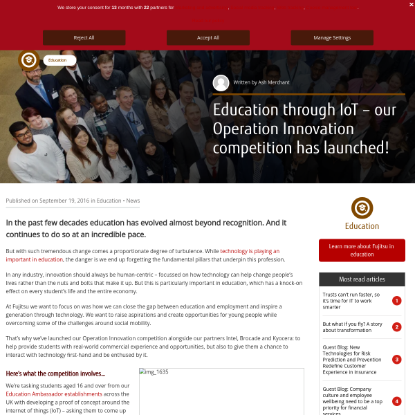 Education through IoT – our Operation Innovation competition has launched! - Fujitsu UK & Ireland Blog