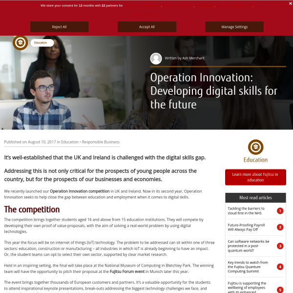 Operation Innovation: Developing digital skills for the future - Fujitsu UK & Ireland Blog
