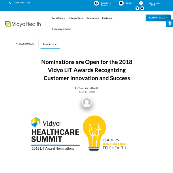 Nominations are Open for the 2018 Vidyo LIT Awards Recognizing Customer Innovation and Success - Vidyo Blog