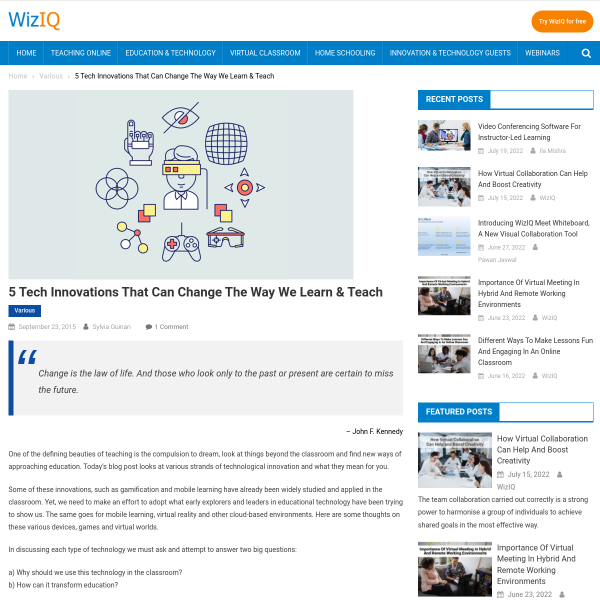 5 Tech Innovations That Can Change The Way We Learn & Teach - The WizIQ Blog