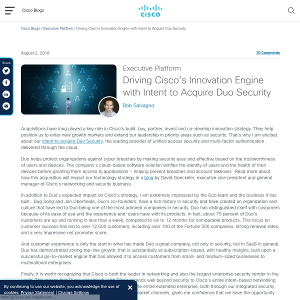 Driving Cisco's Innovation Engine with Intent to Acquire Duo Security