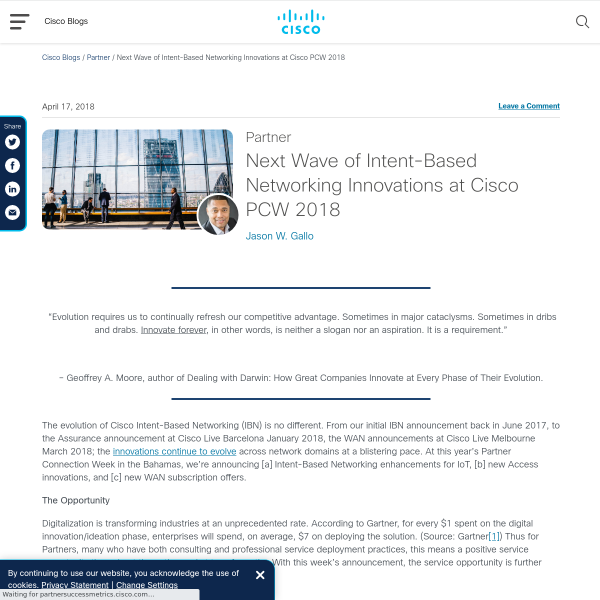Next Wave of Intent-Based Networking Innovations at Cisco PCW 2018