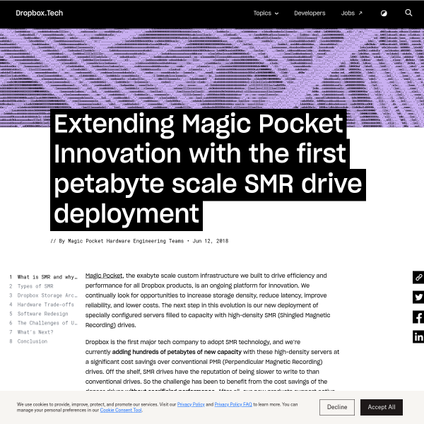 Extending Magic Pocket Innovation with the first petabyte scale SMR drive deployment