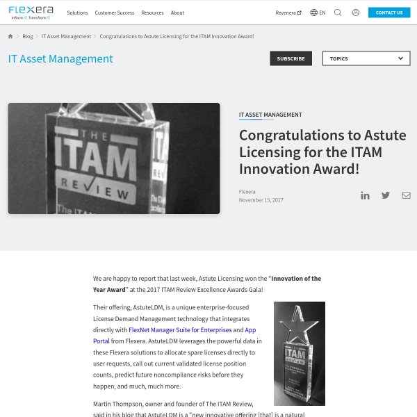 Congratulations to Astute Licensing for the ITAM Innovation Award! - Software License Optimization