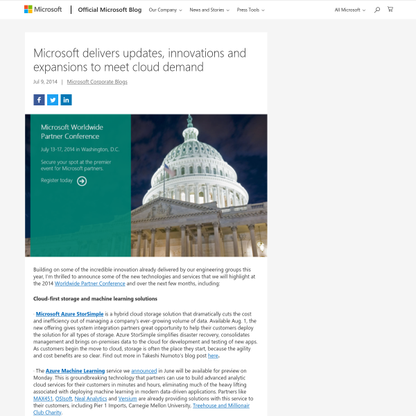 Microsoft delivers updates, innovations and expansions to meet cloud demand - The Official Microsoft Blog