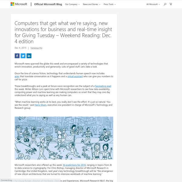 Computers that get what we're saying, new innovations for business and real-time insight for Giving Tuesday – Weekend Reading: Dec. 4 edition - The Official Microsoft Blog