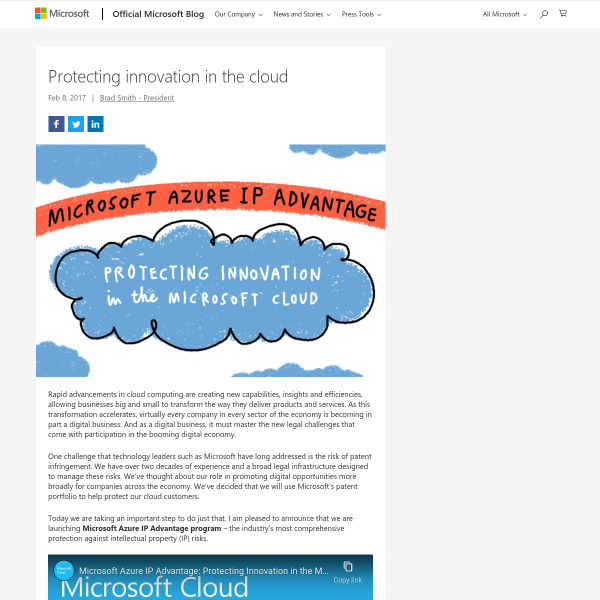 Protecting innovation in the cloud - The Official Microsoft Blog