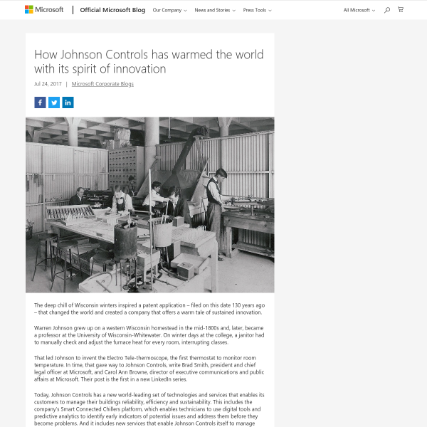 How Johnson Controls has warmed the world with its spirit of innovation - The Official Microsoft Blog