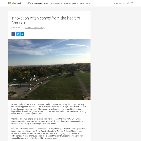 Innovation often comes from the heart of America - The Official Microsoft Blog