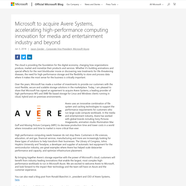 Microsoft to acquire Avere Systems, accelerating high-performance computing innovation for media and entertainment industry and beyond - The Official Microsoft Blog