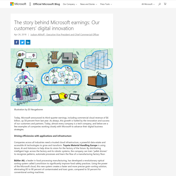 The story behind Microsoft earnings: Our customers' digital innovation - The Official Microsoft Blog