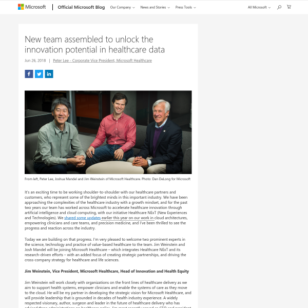 New team assembled to unlock the innovation potential in healthcare data - The Official Microsoft Blog