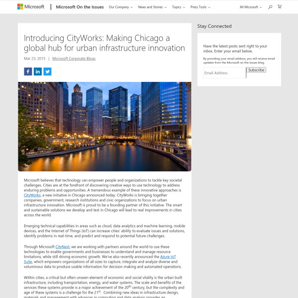 Introducing CityWorks: Making Chicago a global hub for urban infrastructure innovation - Microsoft on the Issues