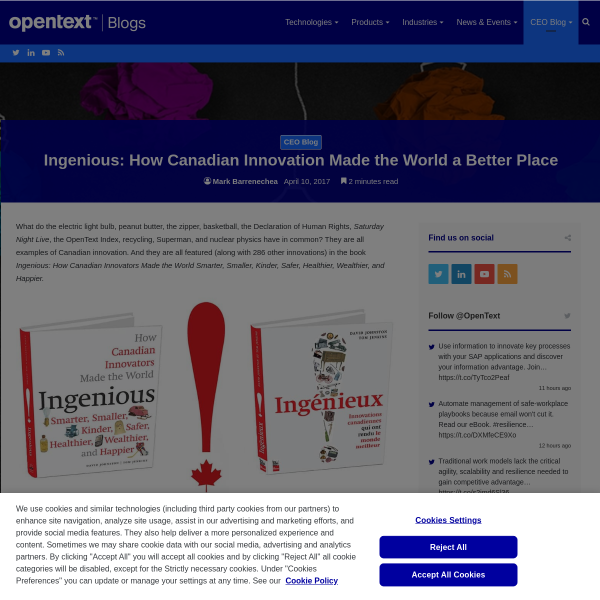 Ingenious: How Canadian Innovation Made the World a Better Place - OpenText Blogs