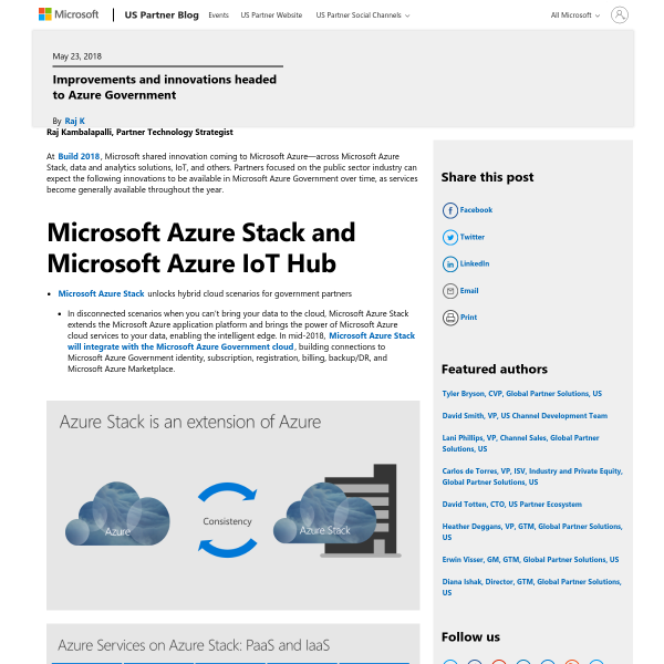 Improvements and innovations headed to Azure Government