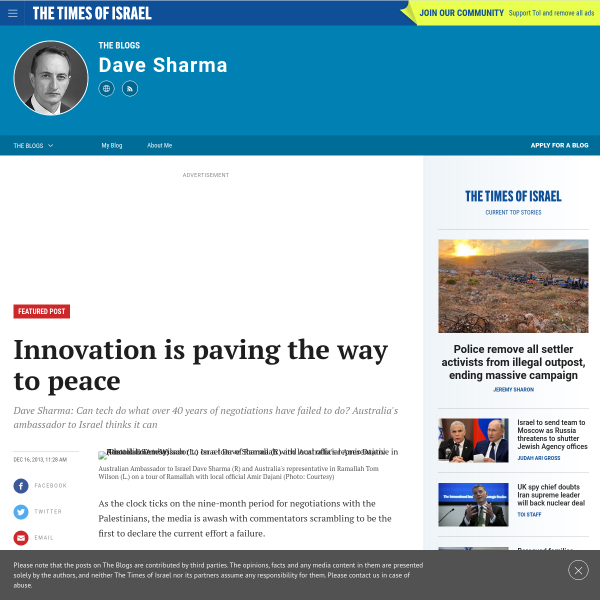 Innovation is paving the way to peace