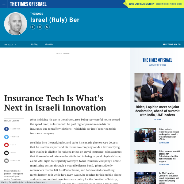 Insurance Tech Is What's Next in Israeli Innovation